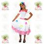 Vestido Noivinha Caipira Infantil Festa Junina ° Branco Rosa