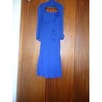 Vestido Longuete De Festa, Na Cor Azul, Tam P Com Echarpe