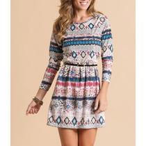Lindo Vestido Inverno Indiano Peruano Estampa Etnica Top