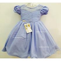 Vestido Fantasia Infantil Cinderela Princesas Luxo Com Tiara