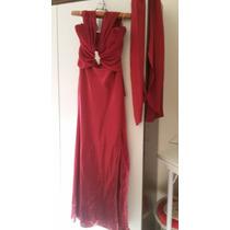 Vestido Social Longo Vermelho, Tamanho P Com Broche Usado