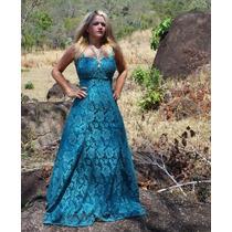 Vestido Longo De Renda E Cetim Azul Claro
