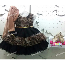 Vestido Infantil De Festa Onça Luxo Com Bolero Tam: 1 Ao 3