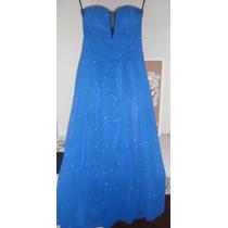 Vestido Longo Na Cor Azul Com Brilhos Tamanho 40 (:m)