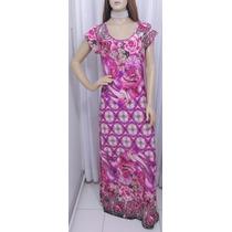 Vestido De Liganete Estampa Floral Longo