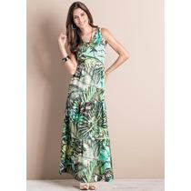Vestido Longo Casual Estampado Colorido Tropical Para Verão