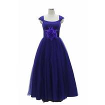 Vestido De Noite De Festa De Flores Longo Azul