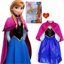 Fantasia Vestido Frozen Anna + Tiara Pronta Entrega Oferta