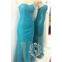 Vestido Festa Madrinha Azul Turquesa Brilho Sereia Pronta En