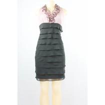 Sl Fashion Ruffle Collard Tiered Vestido Black Rose