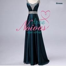 Vestido Madrinha Mae De Noiva Verde Escuro G Pronta Entrega