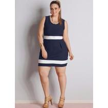 Vestido Curto Festa Moda Plus Size Bicolor Frete Grátis
