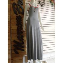 Vestido Casual Longo Básico Alça Ajustável 100% Algodão