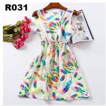 Vestido Casual Multicolor Sem Mangas Graffiti - Frete Gratis