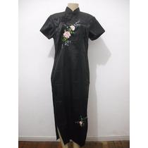 Vestido Longo Preto Cetim Estilo Chines Japones Oriental 09