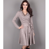 Vestido Outono Inverno Plus Size Malha Clássico Sem Renda