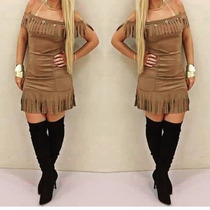Vestido Feminino Curto Franja Suede - Pimenta Doce