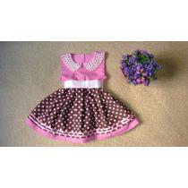 Vestido Infantil Rodado Bolinhas Marrom E Rosa Com Pérola