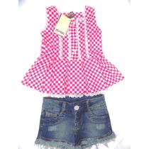 Conjunto Shorts Jeans E Blusa Xadrez Pink 2538 - Douvelin