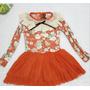 Vestido De Algodao Com Babado E Saia De Tule Infantil