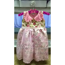 Vestido Infantil Floral Rosa De Algodão E Organza