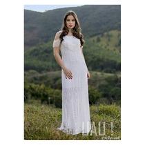 Vestido Longo Tricot Crochê Moda Famosas Branco