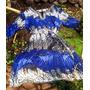 Chamise Azul Detalhe Bordado