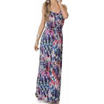 Vestido Longo Abstrato Alça Regata Estampa Estampado Verão