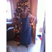 Vestido Feminino Longo Algodão Listras Navy Tam P
