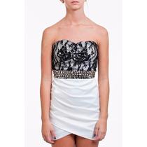 Vestido Tomara Que Caia Cetim Branco Com Renda E Pedrarias