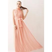 Vestido Import Longo Chiffon Rosa Claro Prontaentrega Freteg