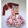 Vestido De Festa Flores Com Blusinha - Bambina Fashion