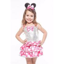 Fantasia Vestido Infantil Festa Minnie Com Tiara