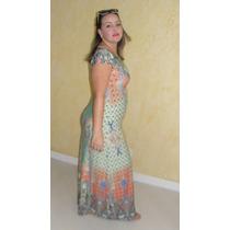 Vestido Longo Casual Estampado Abstrato E Azulejo