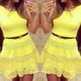 Lindo Vestido Amarelo Pronta Entrega Renda Saia Rodada Fofa