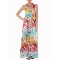 Cantão Vestido Estampa Rainbow Longo Frente Única Novo