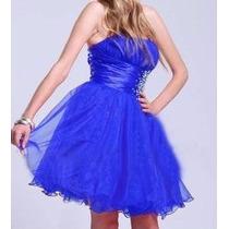 Vestido De Festa Curto Em Organza Lilás, Azul, Preto Ou Pink