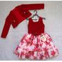 Vestido Flores C/ Blusa Vermelho Bambina Fashion Saldão