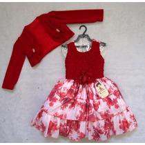 Vestido Flores C/ Blusa Vermelho 84 - Bambina Fashion Saldão