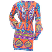 Vestido Tribal Com Cinto E Segunda Pele