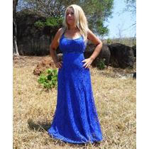 Vestido Longo De Renda E Cetim Azul