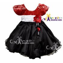 Vestido De Festa Infantil Minnie/joaninha E Faixa De Cabelo