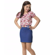 Vestido Saia E Blusa Floral 4 A 12 Anos-sob Encomenda