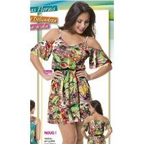 Vestido Medio Estampa Floral Casual Macacão Verde Aki +brind