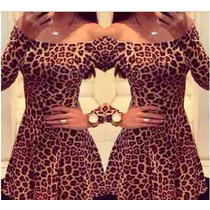 Vestido Oncinha Tigresa Leopardo Manga Longa Pronta Entrega