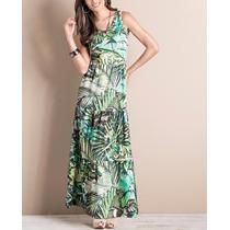 Vestido Longo Com Franzidos Tropical Casual Promoção