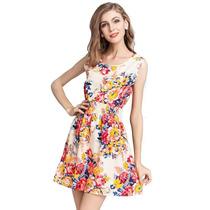 Vestidos Em Promoção Estampado Oncinha Flores - Frete Grátis
