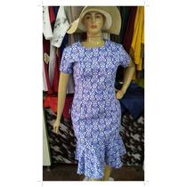Vestido Plus Size Sarja Com Babado - Moda Evangélica.