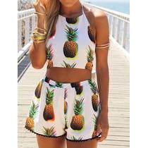 Conjunto Shorts E Cropped Estampa Abacaxi Papilloo