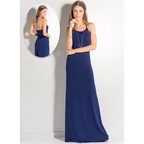 Vestido Longo Frente Única Azul Marinho